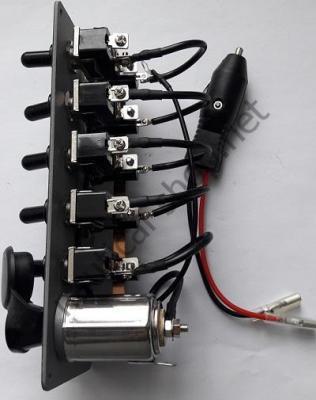 Электрический щиток на 5 тумблеров без подсветки с прикуривателем, вид сбоку, 14.703.00