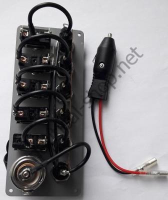 Электрический щиток 12В на 5 тумблеров без подсветки с прикуривателем, контактные соединения