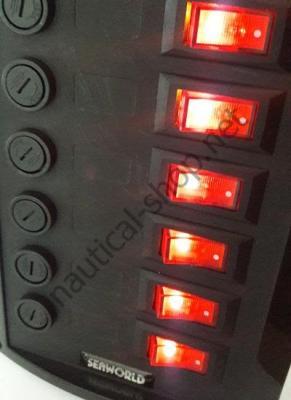 Панель управления 12 В, на 6 клавишных выключателей, яркая подсветка, Osculati 14.103.31