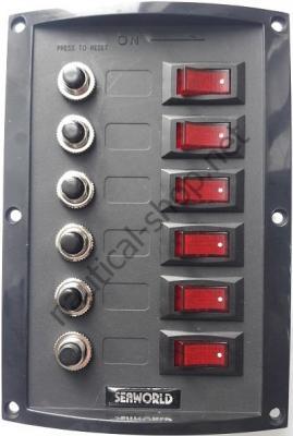 Панель управления 12 В на 6 клавишных выключателей с автоматическими предохранителями, 14.103.38