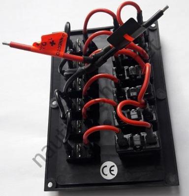 Панель управления на 6 клавишных выключателей с автоматическими предохранителями, сторона подключения, Osculati 14.103.38