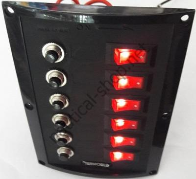 Панель управления на 6 клавишных выключателей с автоматическими предохранителями, ярко красная подсветка выключателей, Osculati 14.103.38