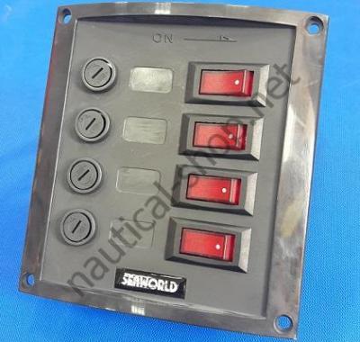 Щиток из полиамида с клавишными выключателями с подсветкой на 4 выключателя, 14.103.34