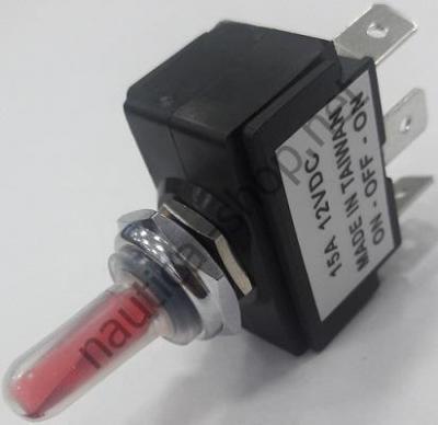 Тумблер с подсветкой трехпозиционный (ВКЛ)-ВЫКЛ-(ВКЛ) с пружинным возвратом, 14.303.37