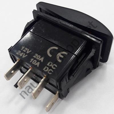 """Водонепроницаемый клавишный выключатель """"Marina R"""" ВКЛ-ВЫКЛ-ВКЛ, 4 контактных соединения, 14.196.04"""