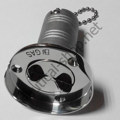 """Горловина для топлива """"GAS"""", горизонтальная (с защитным бортиком) 38 мм, 66404-1"""